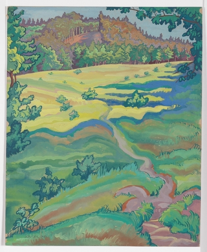 "Josef LACINA - Pintura -  ""Motif from Lower Austria"" 1920's, tempera"