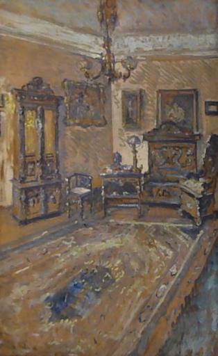 Hugo SCHEIBER - Painting - Interior ( The Artist's Home?)