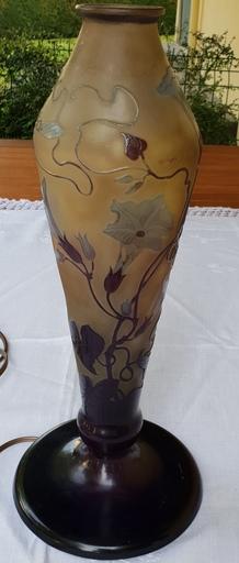 Émile GALLÉ - Pied de lampe en verre multicouche à décor de fleurs