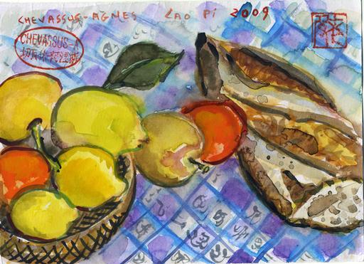 Jean-Pierre CHEVASSUS-AGNES - Dessin-Aquarelle - Pain, mandarines, citrons de MENTON (06) France