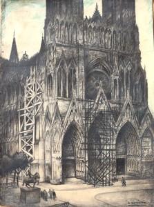 "Raymond DIERICKX - Drawing-Watercolor - ""LA CATHEDRALE ECHAFAUDEE"""