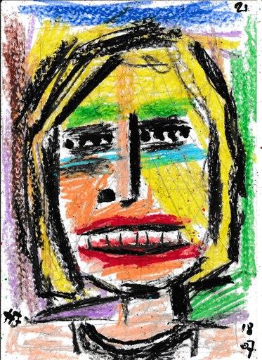 Harry BARTLETT FENNEY - Drawing-Watercolor - blonde hair black vest #4 (18 07 21)