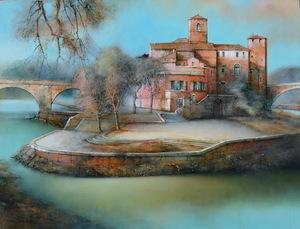 Marc CHAPAUD - Peinture - ITALIE ILE TIBERINE ROME