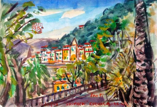 Jean-Pierre CHEVASSUS-AGNES - Dessin-Aquarelle - GRIMALDI village perché des Alpes maritimes