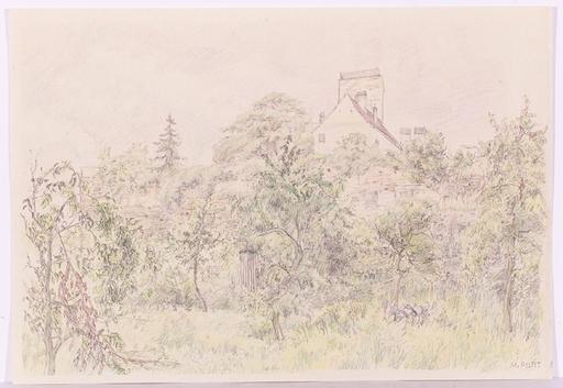 "Maria PILAT - Disegno Acquarello -  ""Garden with Weed"", ca.1930"