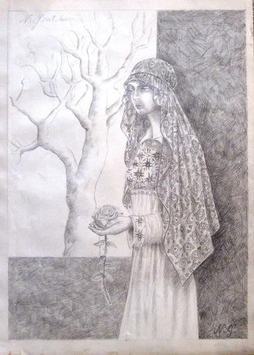 Nathalie GONTCHAROVA - Dibujo Acuarela - Girl with a flower