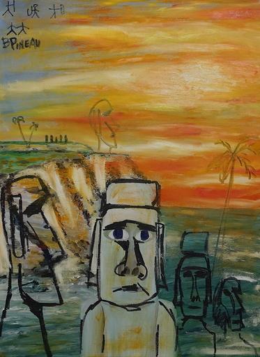 Bernard PINEAU - Painting - H036 Moaïs