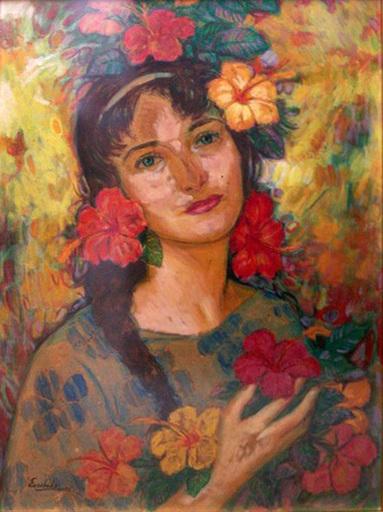 Eberto ESCOBEDO LAZO - Painting - Muchacha con Flores