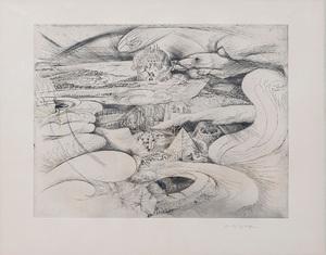 André MASSON - Estampe-Multiple - Rêve d'un futur désert