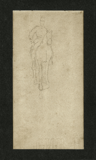 Giovanni FATTORI - Dibujo Acuarela - Soldato a Cavallo