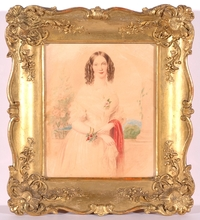"Emanuel Thomas PETER - Miniatur - ""Portrait of a Lady"", Watercolor"