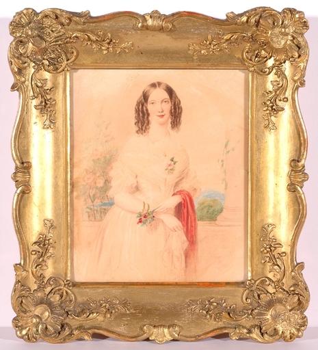 """Emanuel Thomas PETER - Miniature - """"Portrait of a Lady"""", Watercolor"""