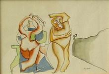 Eugenio Fernandez GRANELL - Dibujo Acuarela - PAREJA