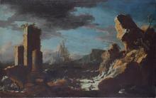 Leonardo COCCORANTE - Pintura - Capriccio architettonico con marina in burrasca