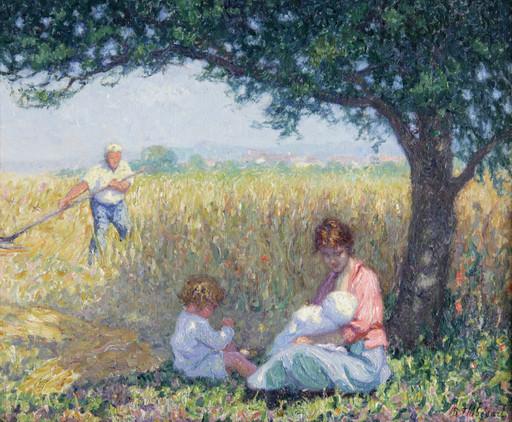 Raymond THIBÉSART - Pintura - Scène de moisson, le déjeuner