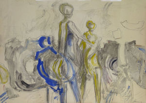Franz Karl BERNHEIMER - Drawing-Watercolor - Figuers