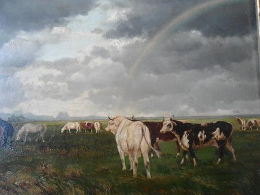 Auguste-Emile FLICK - Peinture - Troupeau dans la prairie.