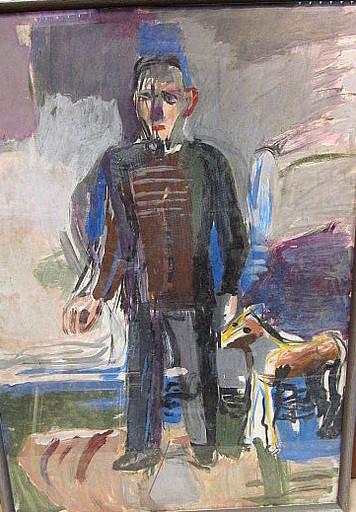 Erich HARTMANN - Peinture - Stehender Mann mit Hund