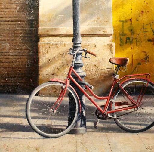 Carlos DIAZ - Pintura - Bici Vermella