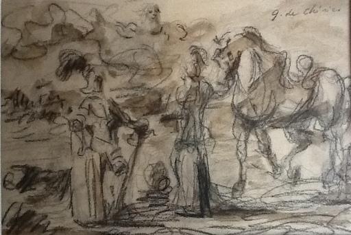 Giorgio DE CHIRICO - Disegno Acquarello - Guerrieri Antichi