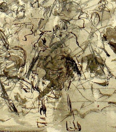 Ulpiano CHECA Y SANZ - Drawing-Watercolor -  L'invasion des barbares-Invasión de los bárbaros
