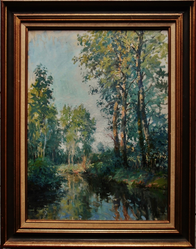 Alexandre JACOB - Painting - Bords de rivière aux peupliers
