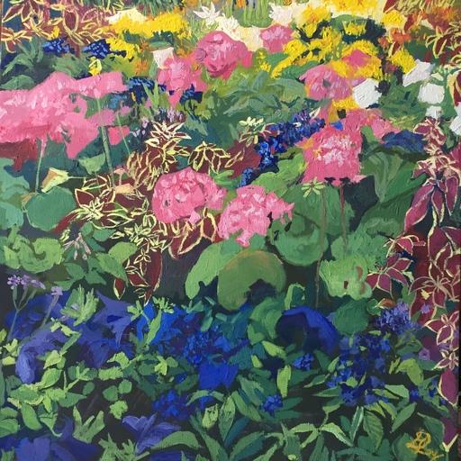 Delphine LACROIX - Peinture - Géraniums et Roses au Luxembourg