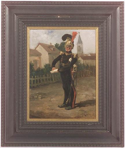 "Eugène COTTIN - Painting - ""Guard Officer on Village Street"", late 19th Century"