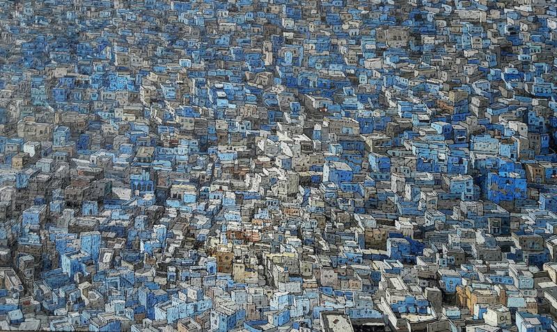 Olivier LAVOREL - Gemälde - 1715 - Grande Ville Bleue