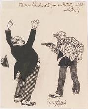 "Emil HÜBL - Dessin-Aquarelle - ""Cartoon"", Ink Drawing, 1921"