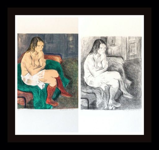 Raphael SOYER - Druckgrafik-Multiple - Woman in Red Stockings Portfolio