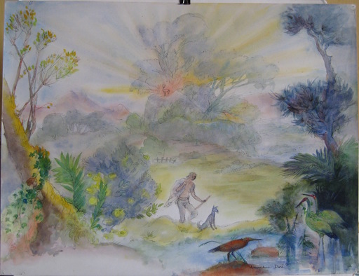 Amandine DORE - Disegno Acquarello - DESSIN À L'AQUARELLE SIGNÉ HANDSIGNED WATERCOLOR DRAWING