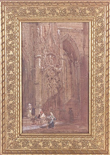 """Samuel PROUT (Attrib.) - Dessin-Aquarelle - """"At Cathedral Entrance"""", Watercolor, early 19th Century"""