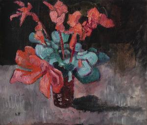 Louis VALTAT - Gemälde - Fleurs rouges