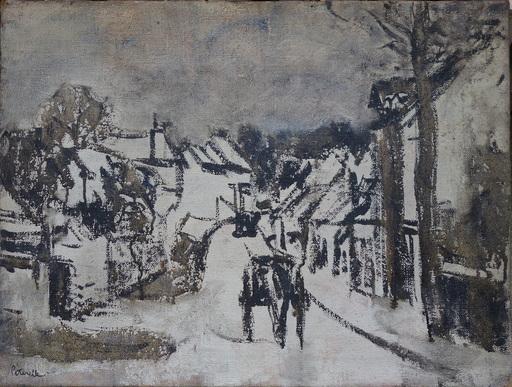 """Adolphe PÉTERELLE - Painting - """"Carrioles dans le village"""""""
