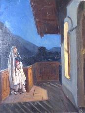 Pavel Varfolomeevich KUZNETSOV - Painting - Evening on the balcony
