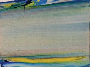 Olivier DEBRÉ - Painting - Touraine 86, Coulée horizontale vert jaune