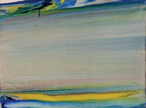 Olivier DEBRÉ - Pintura - Touraine 86, Coulée horizontale vert jaune
