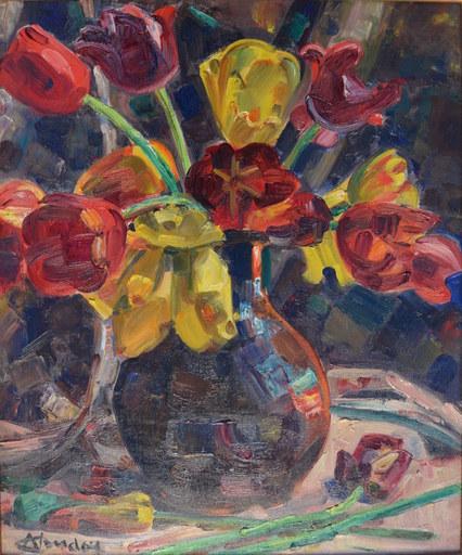 André CLAUDOT - Pintura - Bouquet de Tulipes