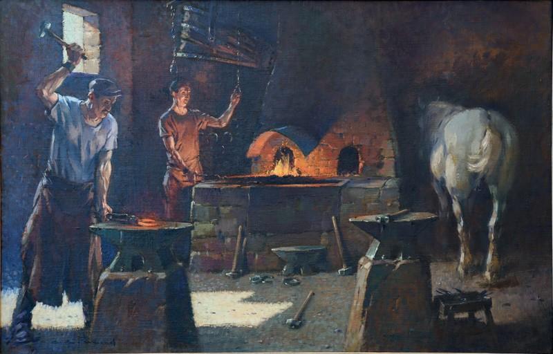 """André FREMOND - Painting - """"LA FORGE DU PERE DAVID"""""""