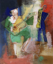 Jean DUFY - Painting - Clowns musiciens