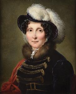 François-Joseph KINSON - Pittura - Femme en robe d'intérieur