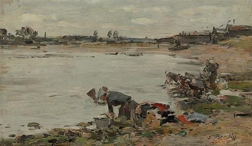 Eugène BOUDIN - Painting - Laveuses au bord de la Touques
