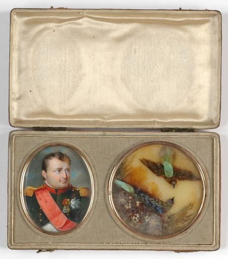 "J. PARENT - Disegno Acquarello - Travelling case with miniature portrait of Napoleon"", 1815"