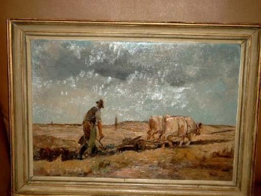 Willy HABL - Painting - Pflügender Bauer