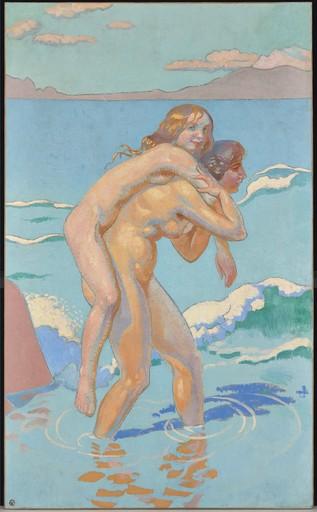 Maurice DENIS - Painting - Jeux de Nausicca : femme portant sa compagne