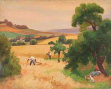 Jules Émile ZINGG - Pintura - Scène de moisson en Franche Comté