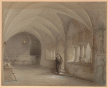 "Caspar SCHEUREN - Drawing-Watercolor - ""In the monastery"", Drawing, 1871"