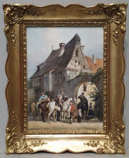 """Reinhold BRAUN - Dessin-Aquarelle - """"Village Scene"""" by Reinhold Braun, 1850"""