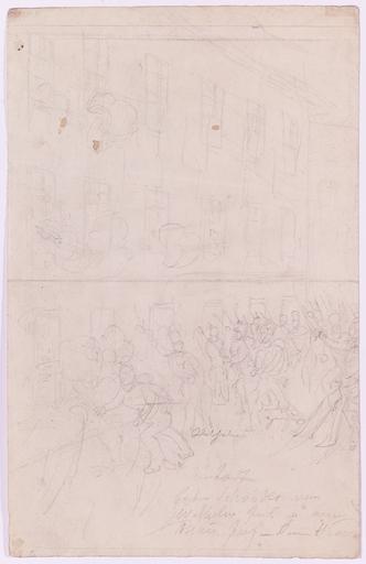"""Johann Nepomuk HOECHLE - Dibujo Acuarela - """"Battle Scene"""", early 19th Century"""